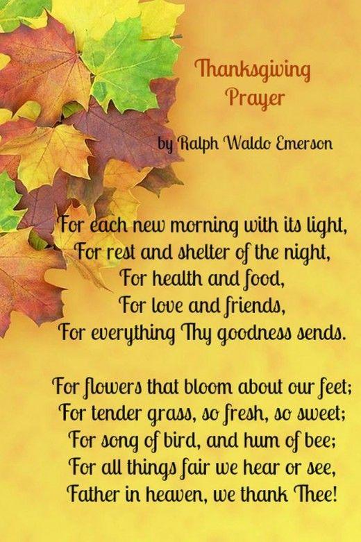 Happy Thanksgiving Poems Prayers