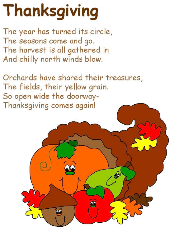Thanksgiving Day Poems For Kids