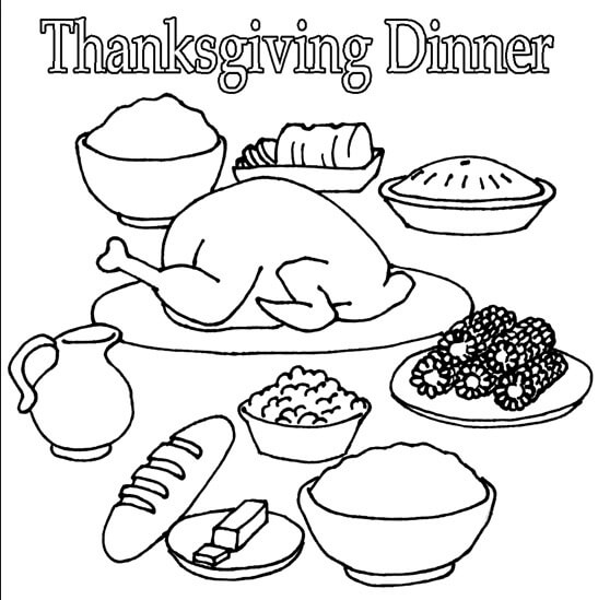 Thanksgiving Dinner Coloring Pages