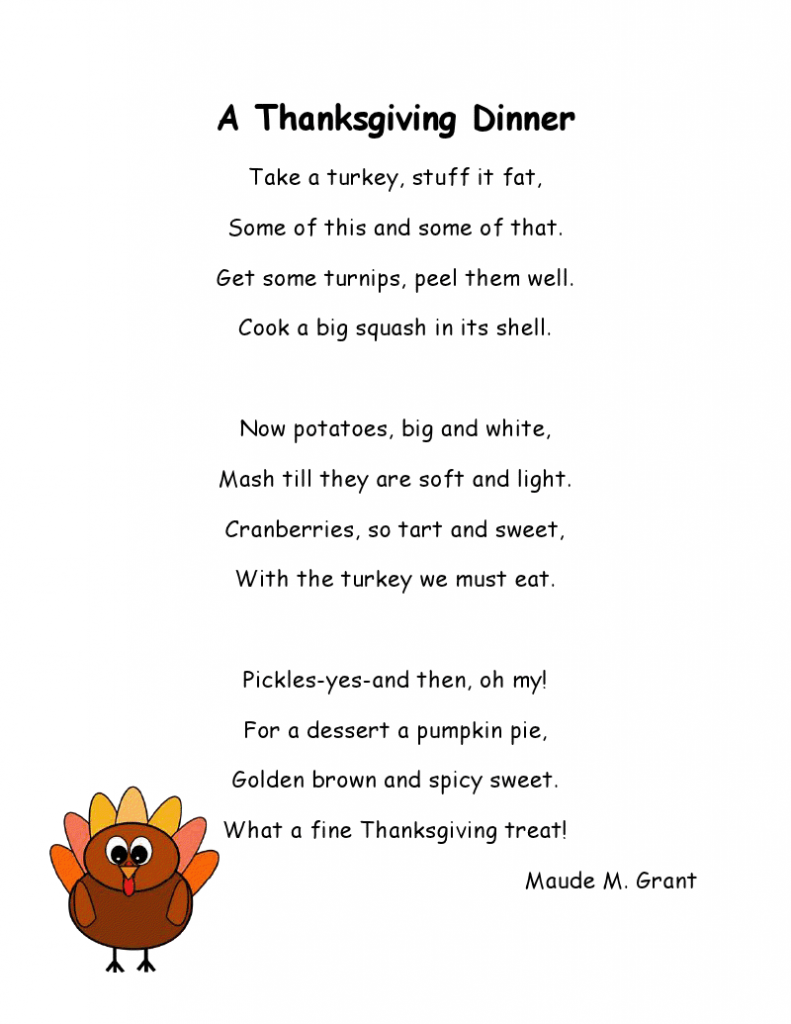Thanksgiving Poems Before Dinner